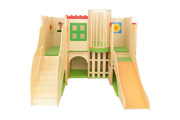 Kącik zabaw dla dzieci ze zjeżdalnią i elementami manipulacyjnymi