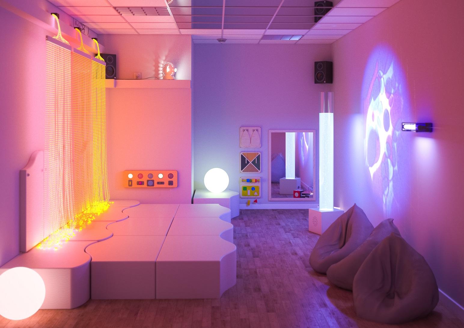 Sala doświadczania świata do pobudzania wielu bodźców: światła, dźwięku, dotyku, zapachu