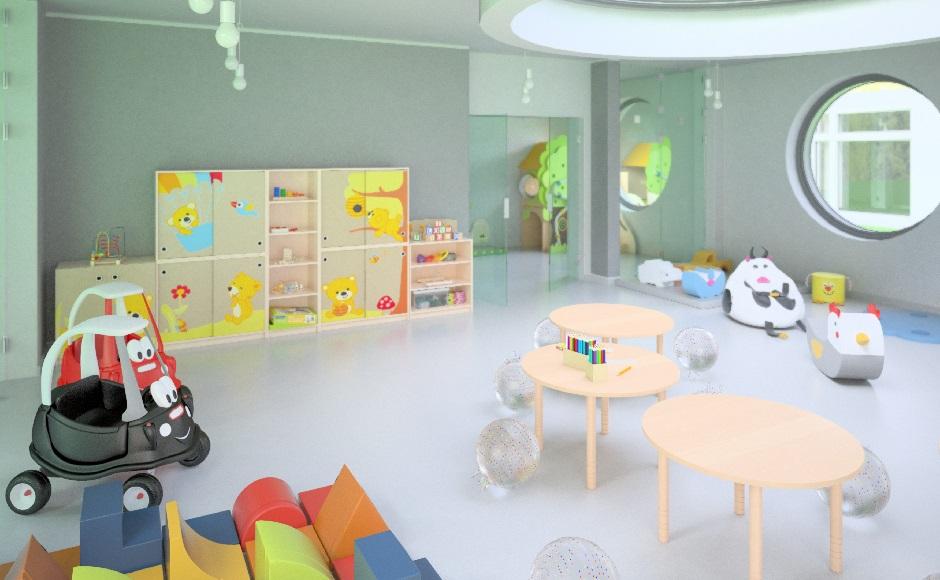 Sala do terapii integracji sensorycznej z piankowym kącikiem zabaw