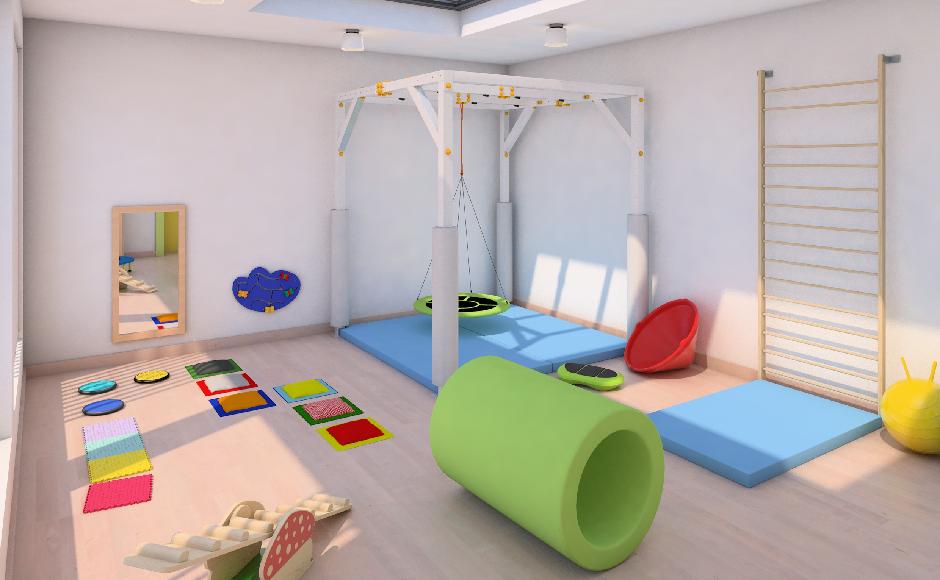 Sala integracji sensorycznej z kabiną do sprzętów podwieszanych