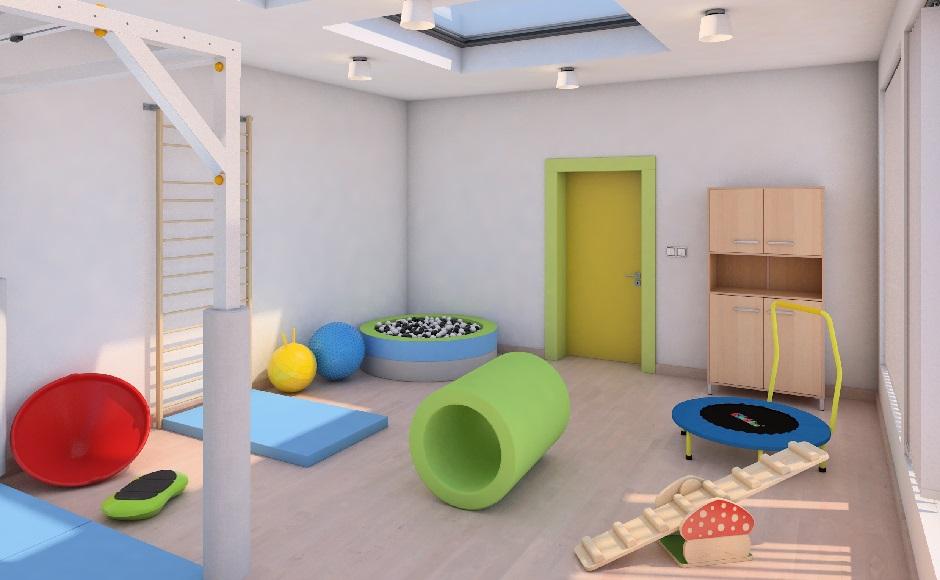 sala do terapii si wyposażona w kabinę do sprzętu podwieszanego