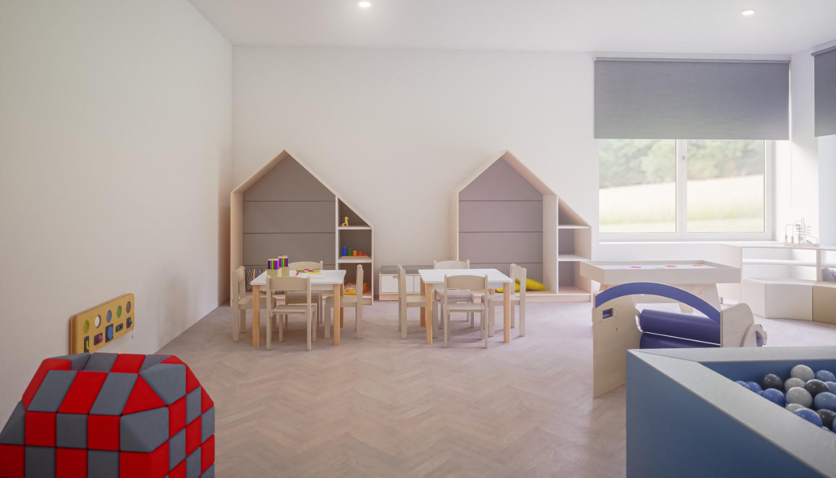Sala terapii integracji sensorycznej z domkami z kolekcji Quadro